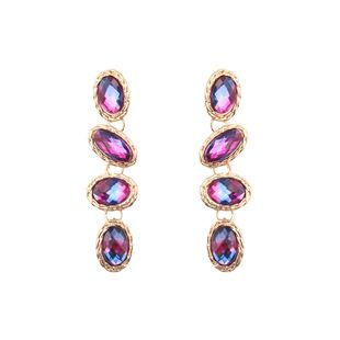 Imitated crystal&CZ Fashion Geometric earring  (Red color) NHJQ10929-Red-color's discount tags