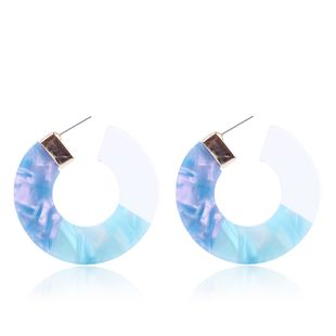 Plastic Korea Geometric earring  (blue) NHMD4950-blue's discount tags