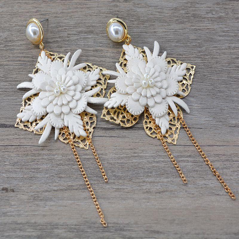 Alloy Bohemia Tassel earring  white NHNT0726white