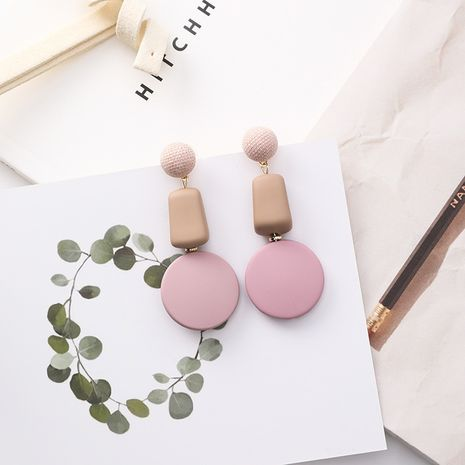 Alloy Korea Geometric earring  (A pink) NHMS1735-A-pink's discount tags