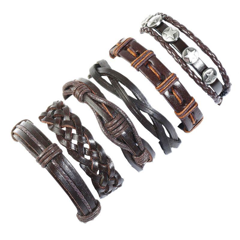 Leather Fashion bolso cesta bracelet  Sixpiece set NHPK2175Sixpieceset