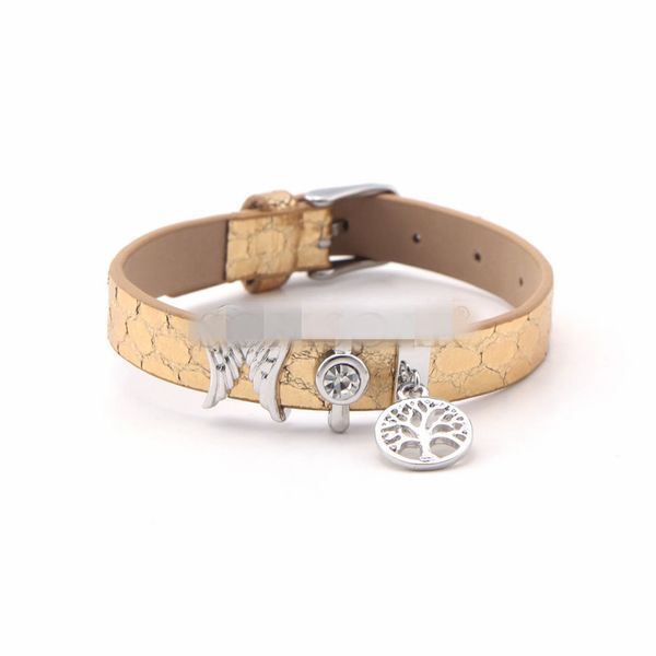 Leather Simple Geometric bracelet  (Steel color) NHSX0361-Steel-color