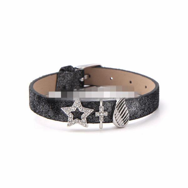 Leather Simple Geometric bracelet  (Steel color) NHSX0362-Steel-color