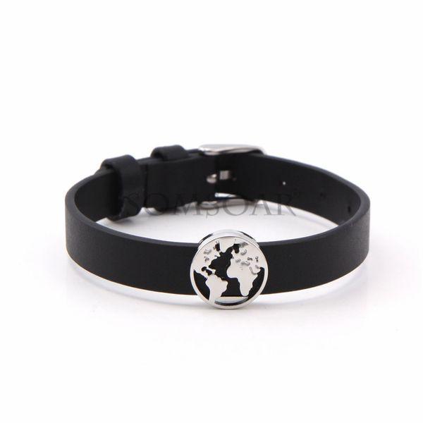 Leather Simple Geometric bracelet  (Steel color buckle + steel color accessories) NHSX0367-Steel-color-buckle-steel-color-accessories