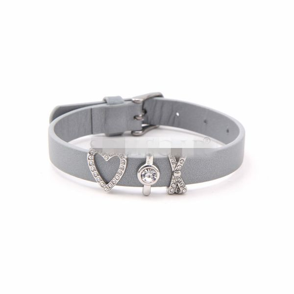 Leather Simple Geometric bracelet  (Steel color) NHSX0371-Steel-color