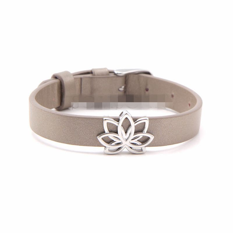 Leather Simple Geometric bracelet  (Steel color) NHSX0374-Steel-color