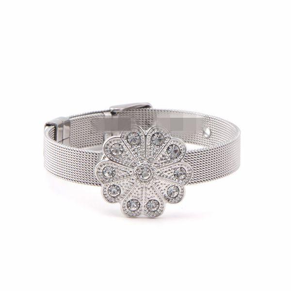 Titanium&Stainless Steel Simple Flowers bracelet  (Steel bracelet) NHSX0379-Steel-bracelet
