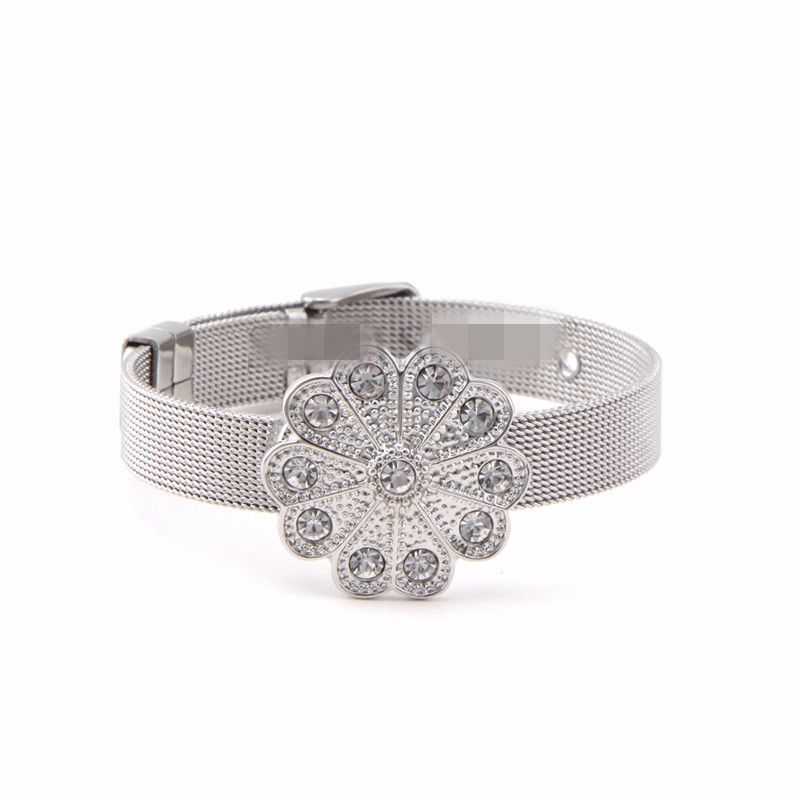 Titanium&Stainless Steel Simple Flowers bracelet  (Steel bracelet) NHSX0379-Steel-bracelet