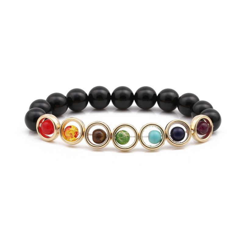 Natural Stone Fashion Geometric bracelet  (Black scrub) NHYL0344-Black-scrub
