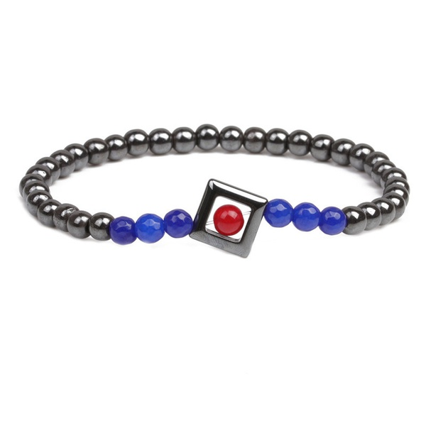 Alloy Fashion Geometric bracelet  (Blue agate) NHYL0355-Blue-agate