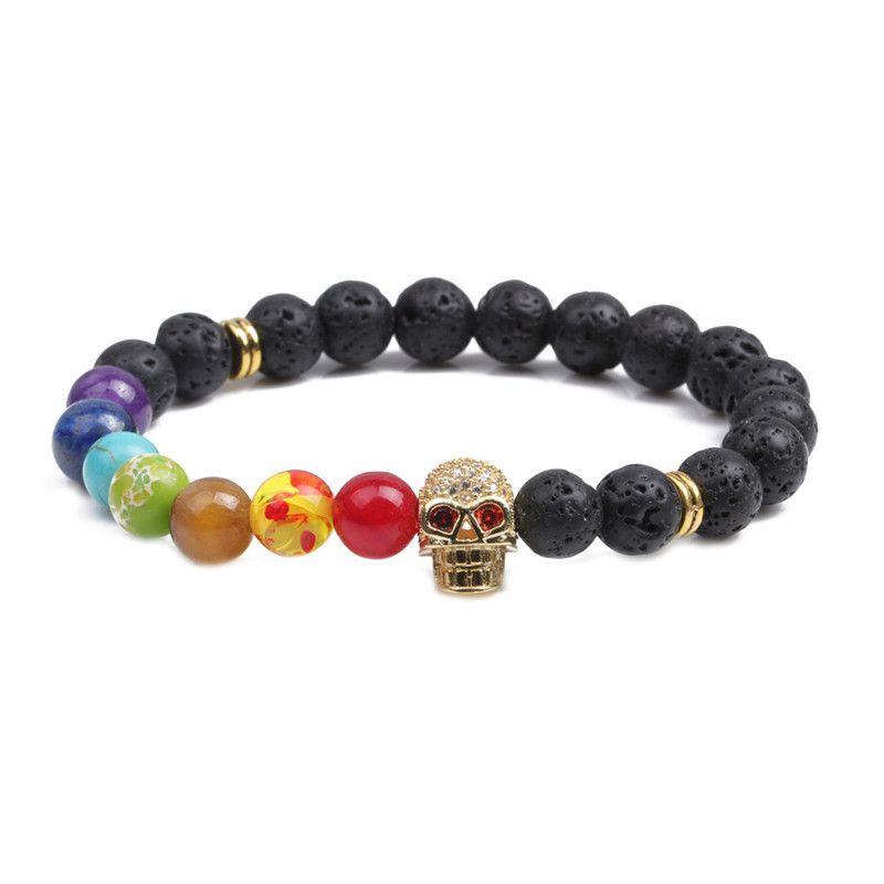 Alloy Fashion Skeleton Skull bracelet  (Volcanic stone) NHYL0365-Volcanic-stone