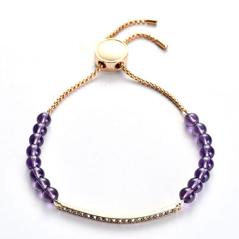 Alloy Fashion Geometric bracelet  (Alloy + purple beads) NHHN0319-Alloy-purple-beads