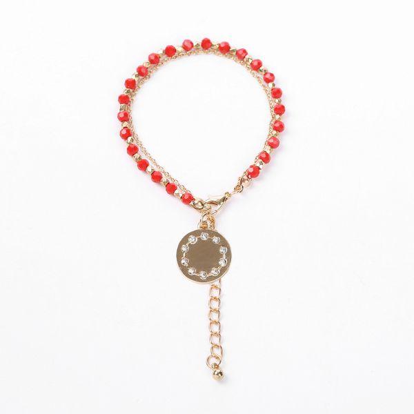Alloy Fashion Geometric bracelet  (Round pendant + red bead chain) NHHN0328-Round-pendant-red-bead-chain