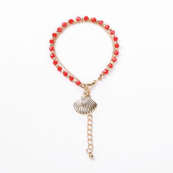 Alloy Fashion Geometric bracelet  (Shell + red) NHHN0331-Shell-red
