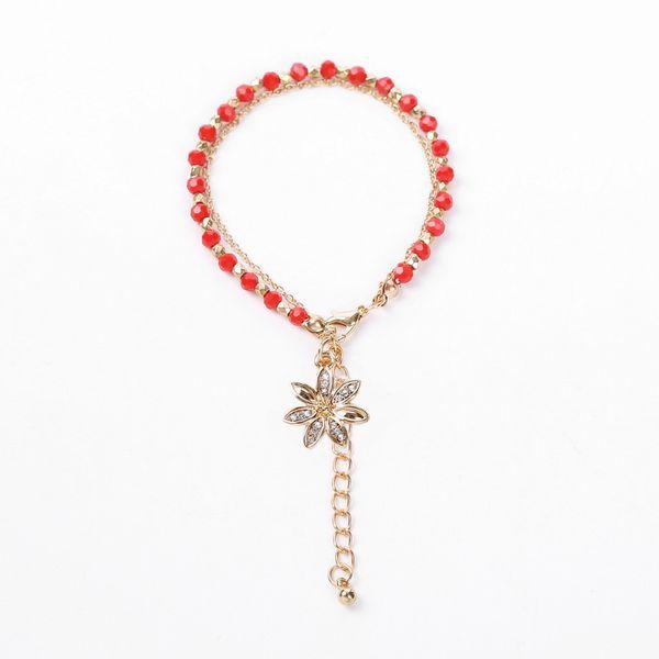 Alloy Fashion Flowers bracelet  (Flower pendant + red bead chain) NHHN0343-Flower-pendant-red-bead-chain
