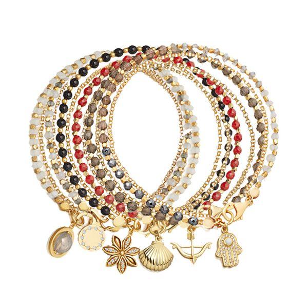 Alloy Fashion Geometric bracelet  (Black bead chain + flower) NHHN0344-Black-bead-chain-flower