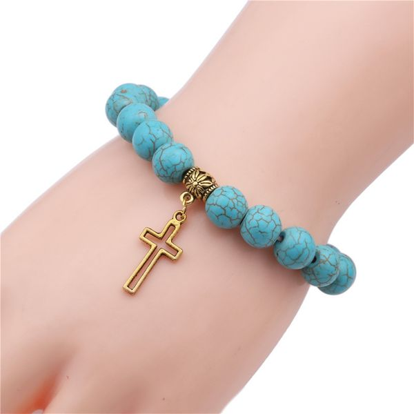 Natural Stone Fashion Cross bracelet  (Alloy cross) NHYL0382-Alloy-cross