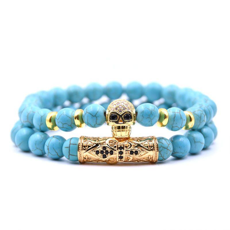 Bracelet de crne squelette de mode en pierre naturelle costume de pin vert NHYL0384costume de pin vert