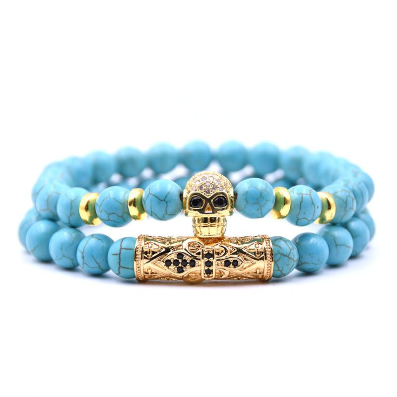 Natural Stone Fashion Skeleton Skull bracelet  (Green pine suit) NHYL0384-Green-pine-suit