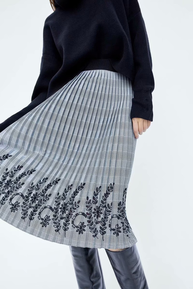 Cotton Fashion  skirt  (Gray-S) NHAM6667-Gray-S