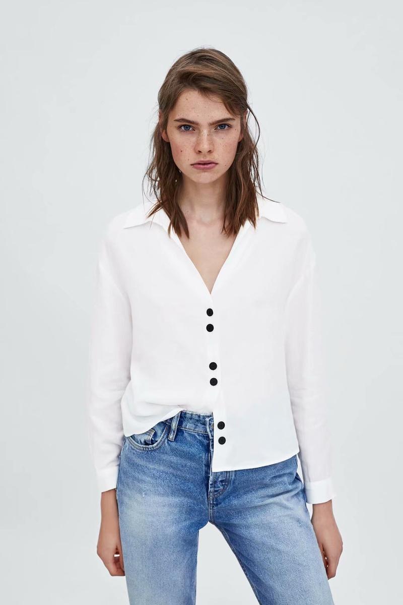 Chiffon Fashion  shirt  (White-S) NHAM6678-White-S