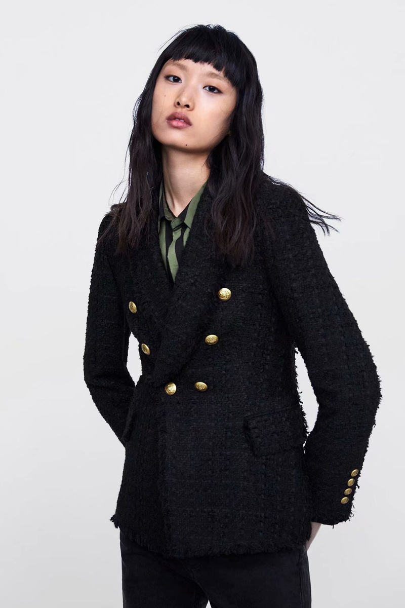 Polyester Fashion  coat  (Black-s) NHAM6732-Black-s