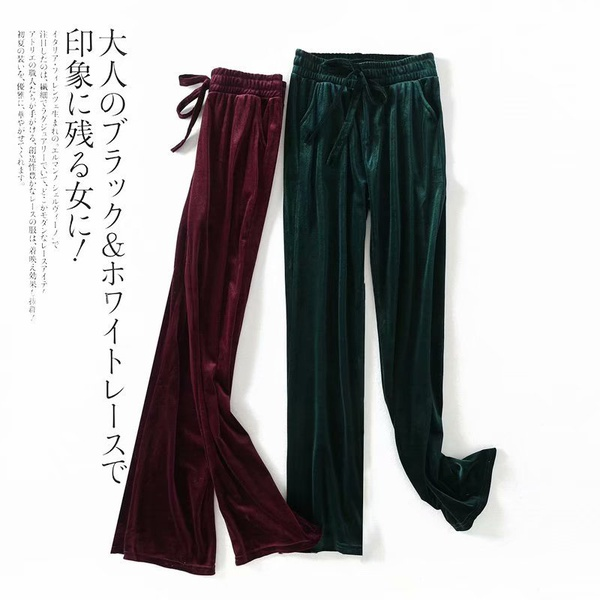 Polyester Fashion  pants  (Wine red-M) NHAM6810-Wine-red-M