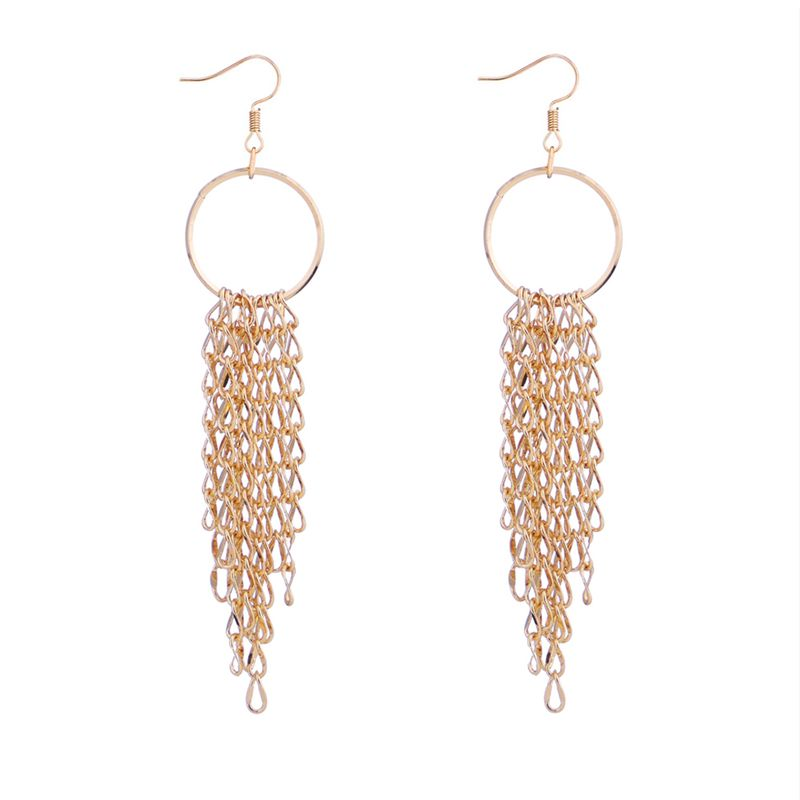 Korean version of the trendy creative ring tassel earrings NHNPS5352