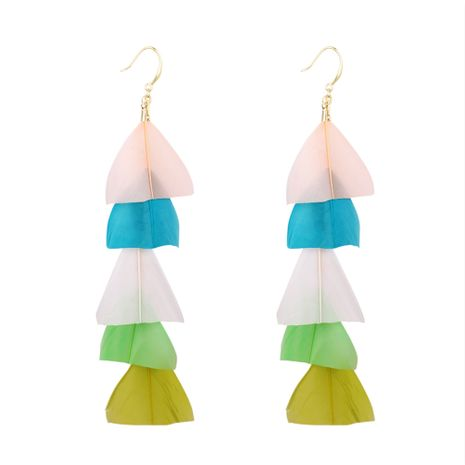 Bohemian ethnic style super fairy feather tassel earrings (color A) NHNPS5354's discount tags