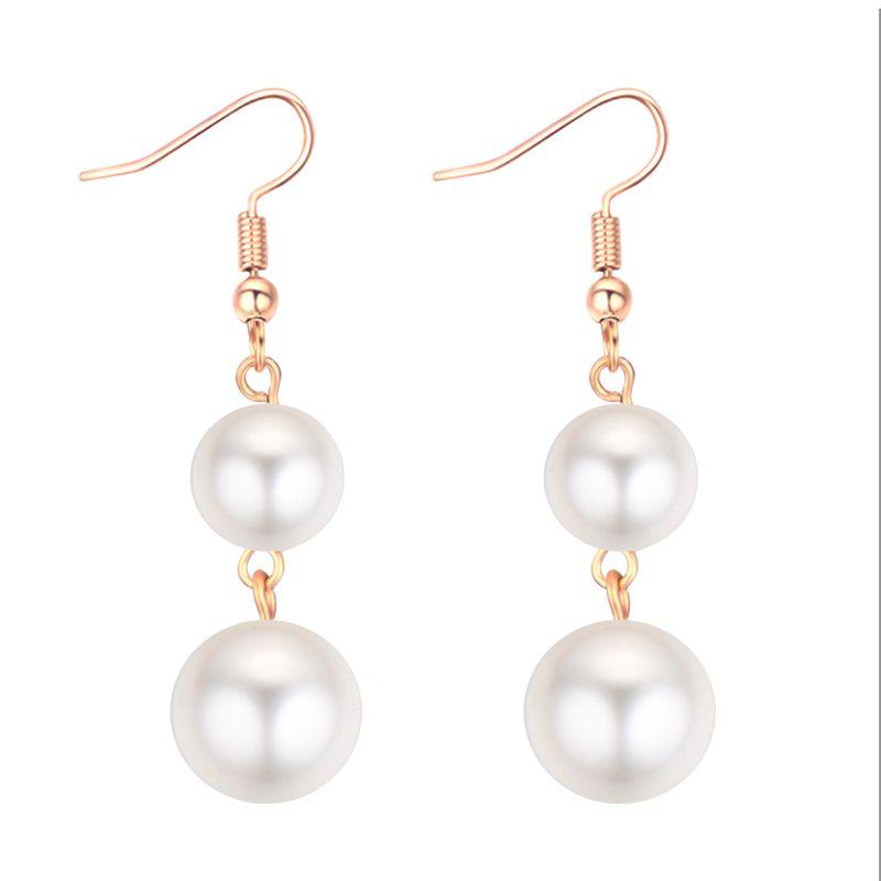 Korean version of the temperament simple ladies beads pendant earrings NHNPS5361