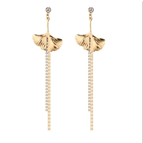 Korean version of temperament wild long ginkgo tassel earrings NHNPS5362's discount tags
