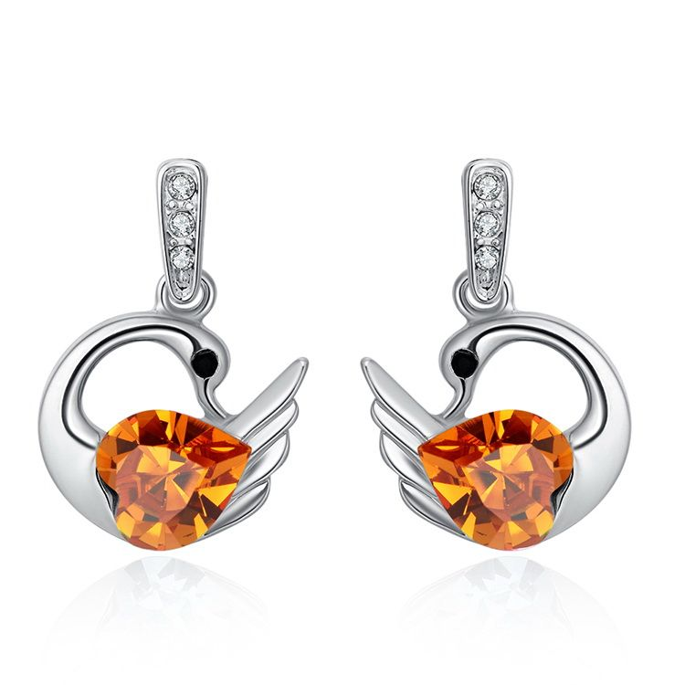 Austrian Imitated crystal Earrings  Holy Swan Citrine NHKSE29607