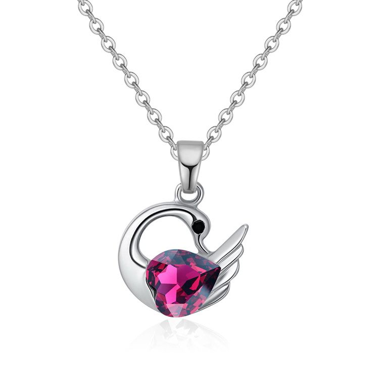 Austrian Imitated crystal Necklace - Holy Swan (Purple) NHKSE29595