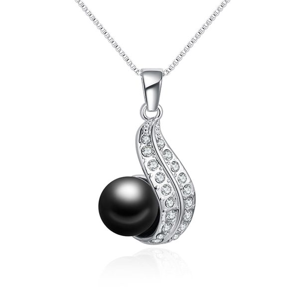 Austrian Beads Necklace - Heart of Love (Black) NHKSE29647