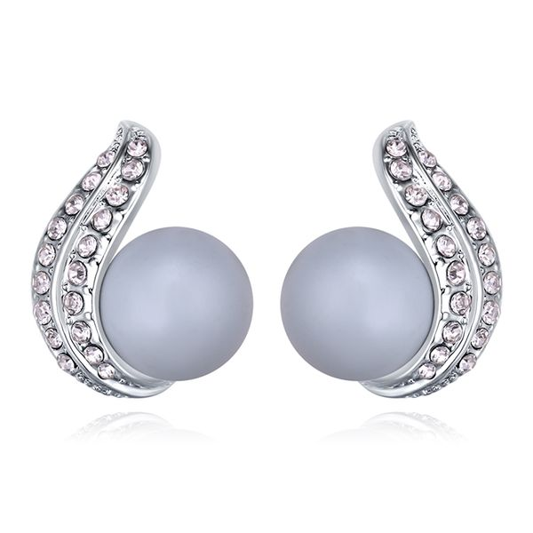 Austrian Beads Earrings - Heart of the Heart (Pastel Blue) NHKSE29637