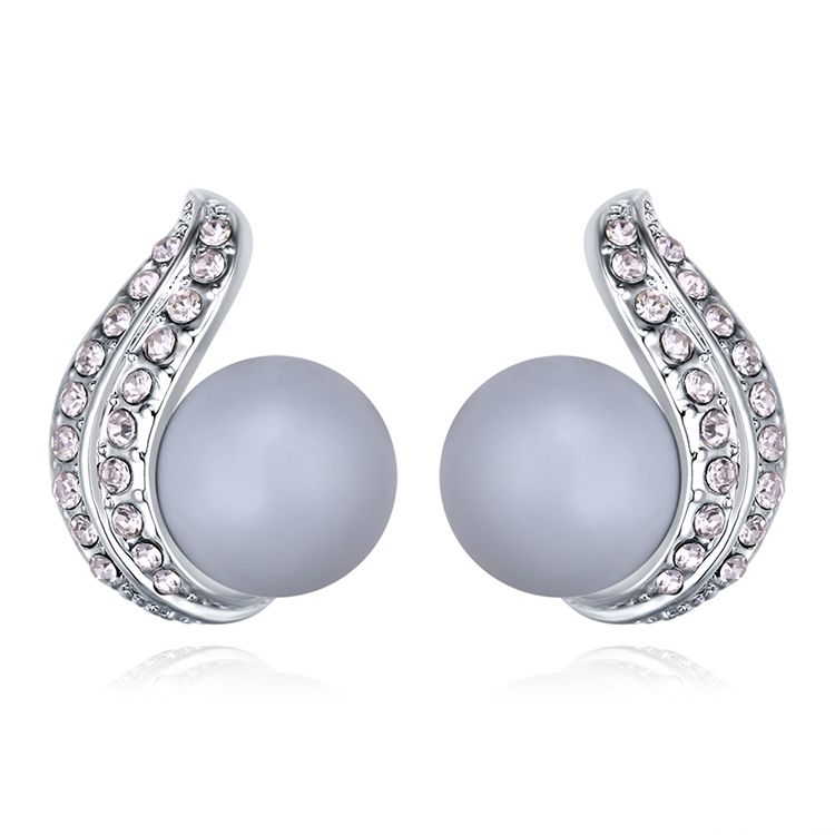 Austrian Beads Earrings  Heart of the Heart Pastel Blue NHKSE29637