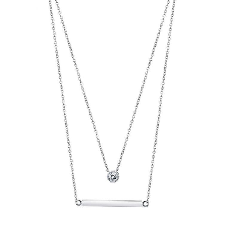 Alloy Simple Geometric necklace  (Platinum-T10E18) NHTM0488-Platinum-T10E18