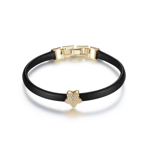 Leather Korea Geometric bracelet  (Champagne Alloy-T13E19) NHTM0496-Champagne-Alloy-T13E19