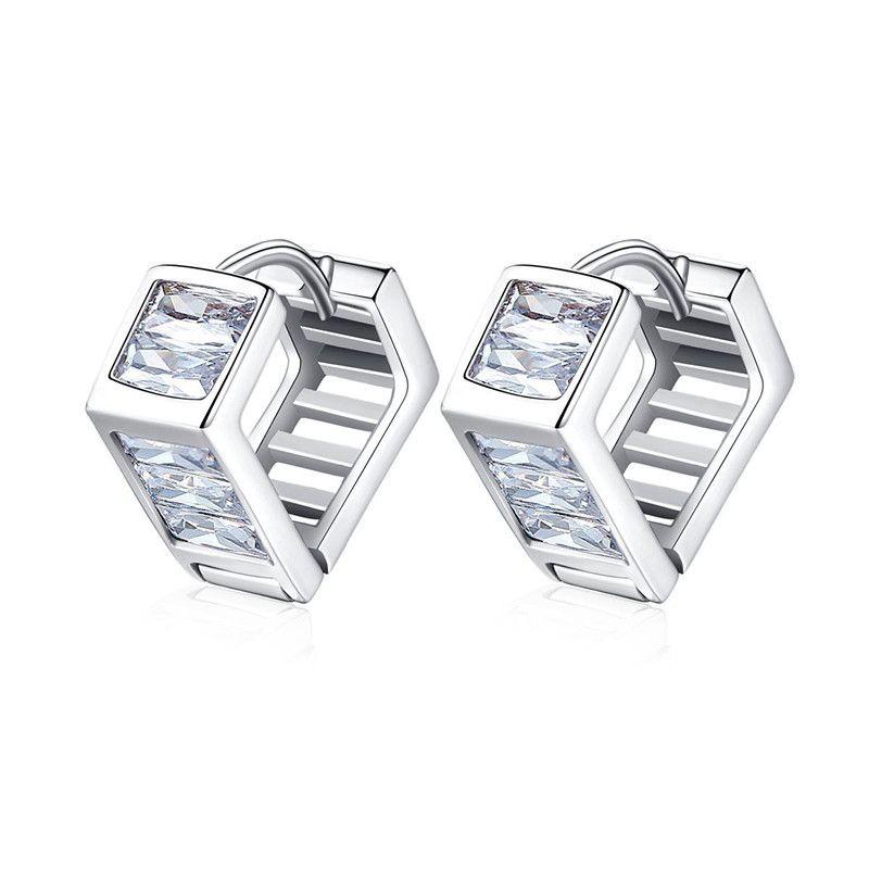 Alloy Simple Geometric earring  (Platinum T05C16) NHTM0498-Platinum-T05C16