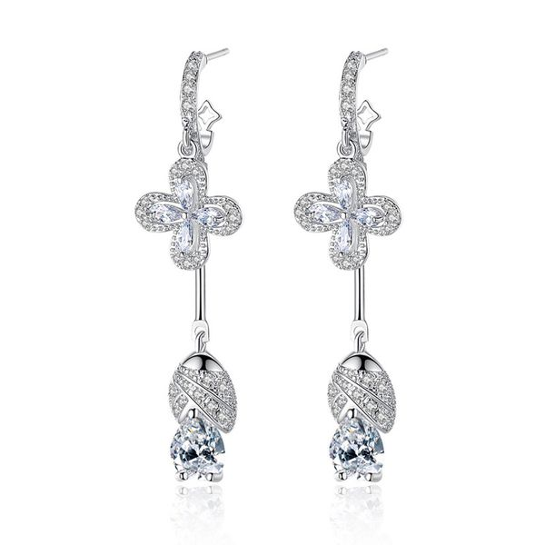 Alloy Korea Geometric earring  (White zirconium white alloy) NHTM0503-White-zirconium-white-alloy