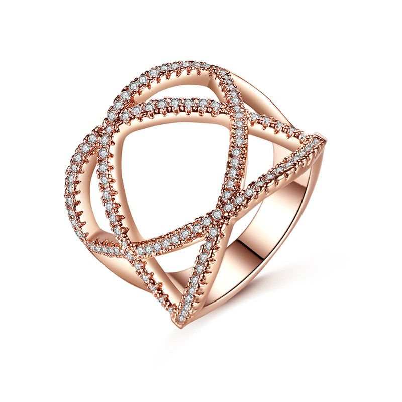 Alloy Fashion Geometric Ring  (Rose Alloy Meiwei 8.5) NHTM0509-Rose-Alloy-Meiwei-8.5