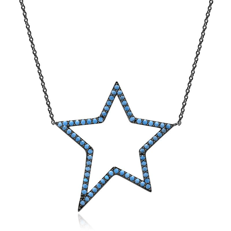 Alloy Fashion Geometric necklace  (Blue-T10E17) NHTM0511-Blue-T10E17
