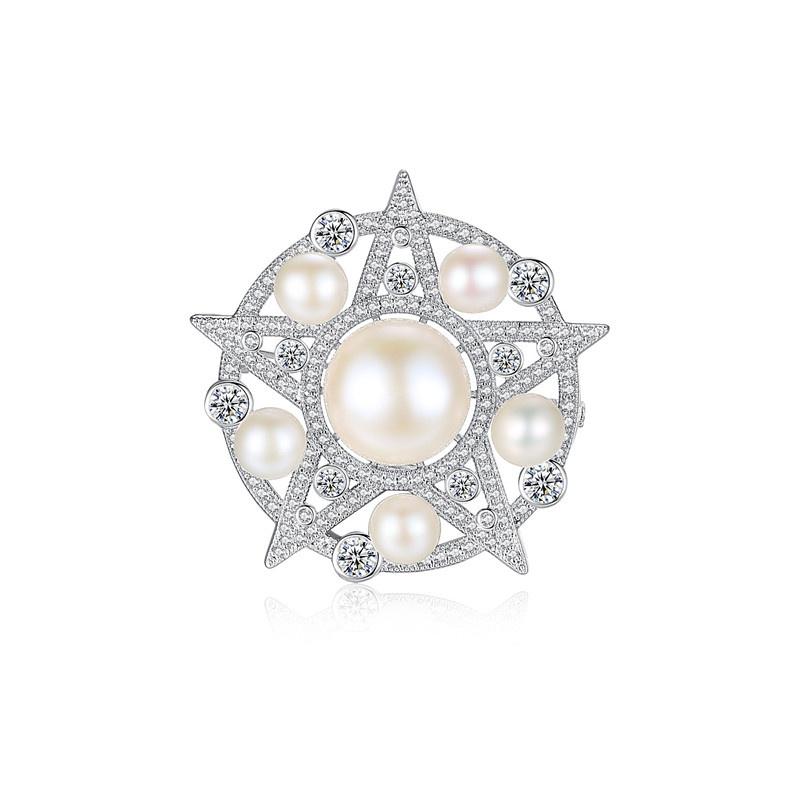 Copper Korea Geometric brooch  (White zircon-T15D10) NHTM0524-White-zircon-T15D10