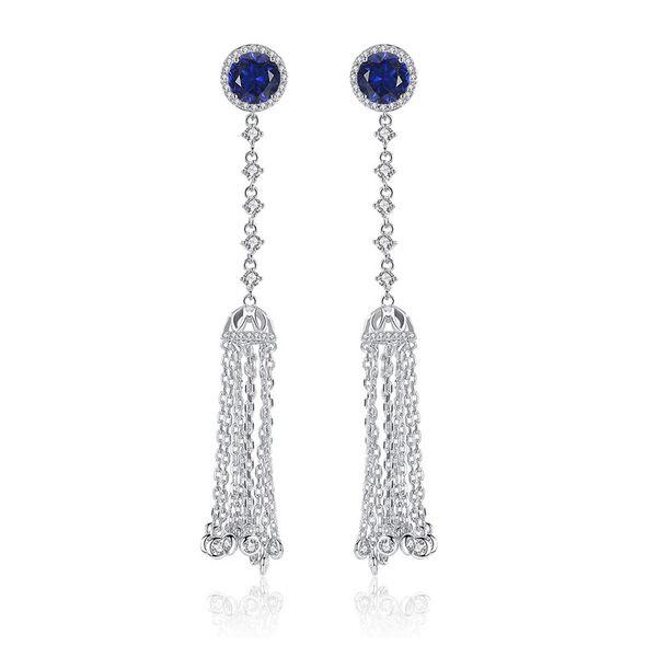 Alloy Korea Tassel earring  (Main stone blue zirconium) NHTM0538-Main-stone-blue-zirconium