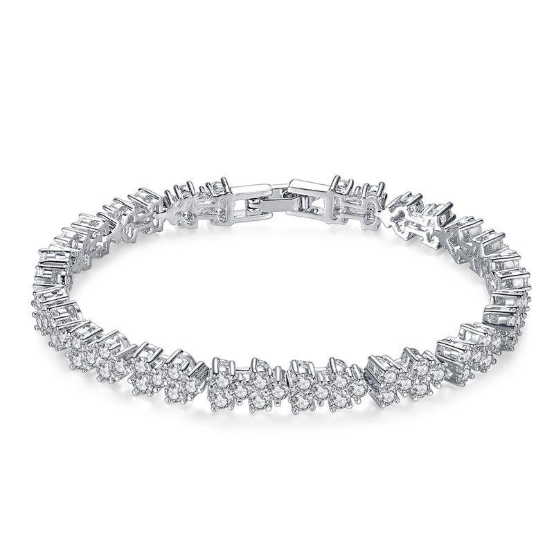 Alloy Fashion Flowers bracelet  White 17 NHTM0544White17