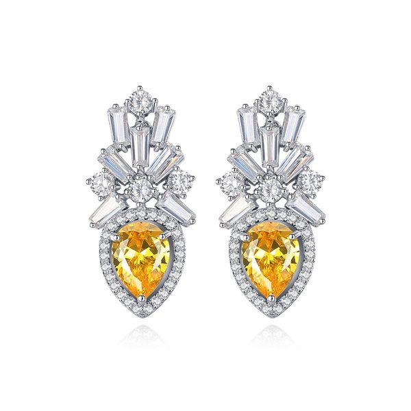 Alloy Fashion Geometric earring  (Main stone white zirconium) NHTM0554-Main-stone-white-zirconium