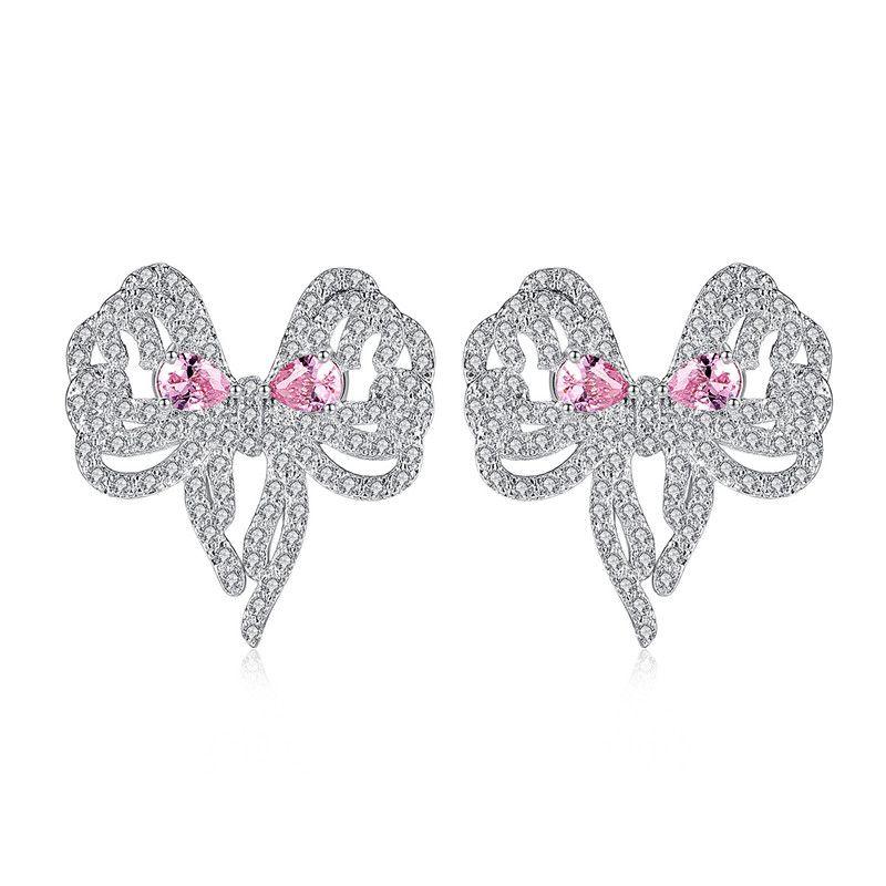 Alloy Simple Bows earring  (Powder Zirconium Platinum T08C07) NHTM0564-Powder-Zirconium-Platinum-T08C07