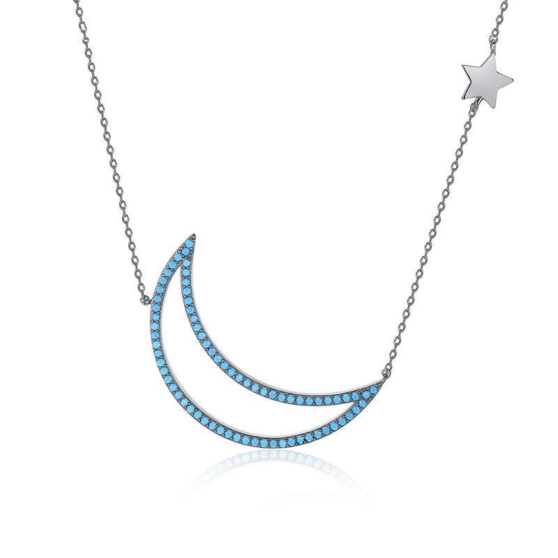Alloy Simple Geometric necklace  (Gun black + blue zirconium - T11B20) NHTM0581-Gun-black-blue-zirconium-T11B20