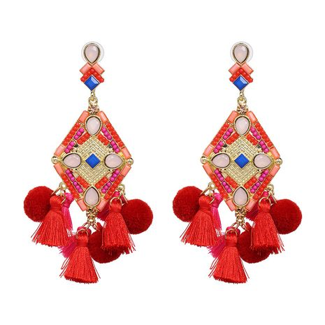 Alloy Fashion Tassel earring  (red) NHJJ5327-red's discount tags