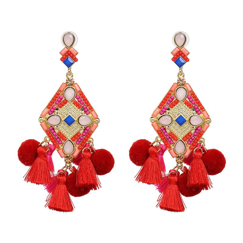 Alloy Fashion Tassel earring  (red) NHJJ5327-red
